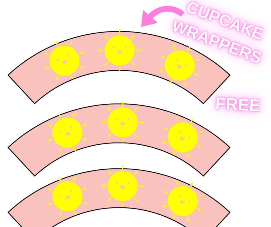 pink birthday decoration ideas: sunshine cupcake wrappers