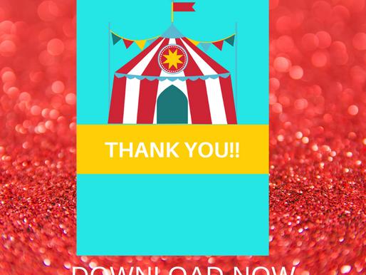 Circus Thank You Card | Free Printable Circus Themed Thank You Note | DIY Circus Birthday Ideas