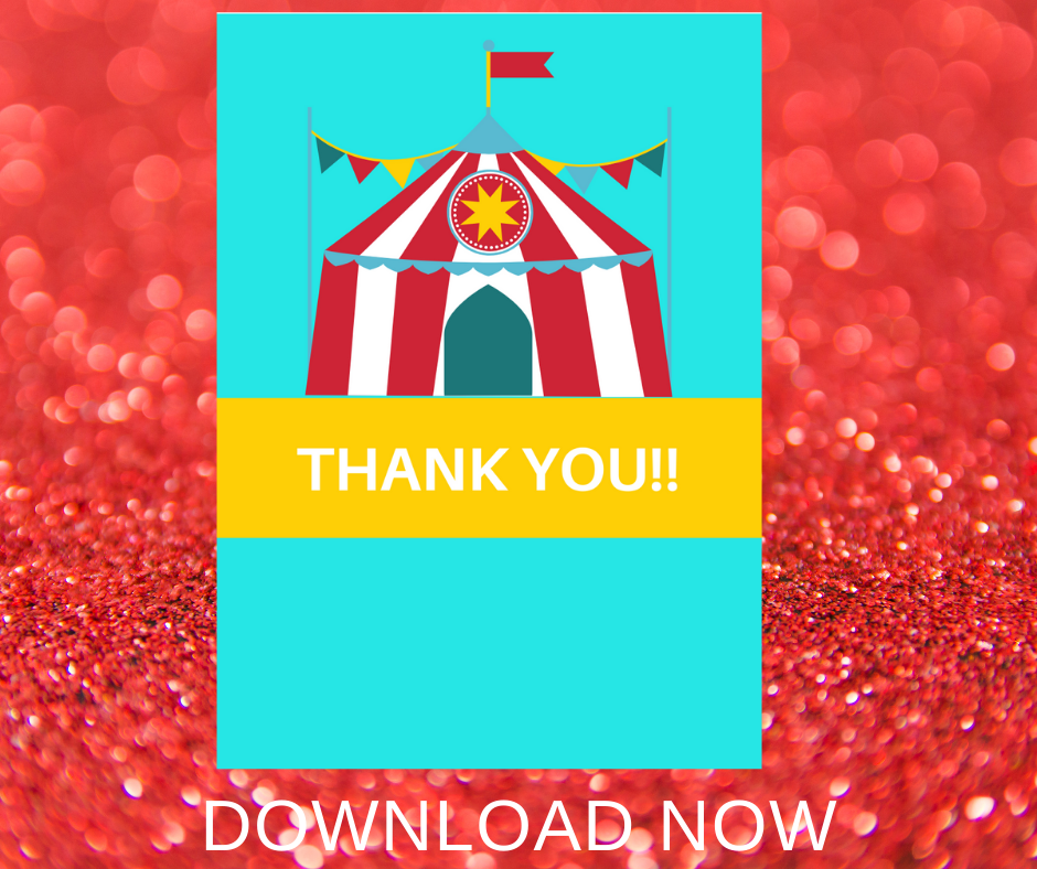 circus thank you note for a little girls birthday party