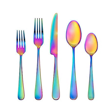 Rainbow themed flatware
