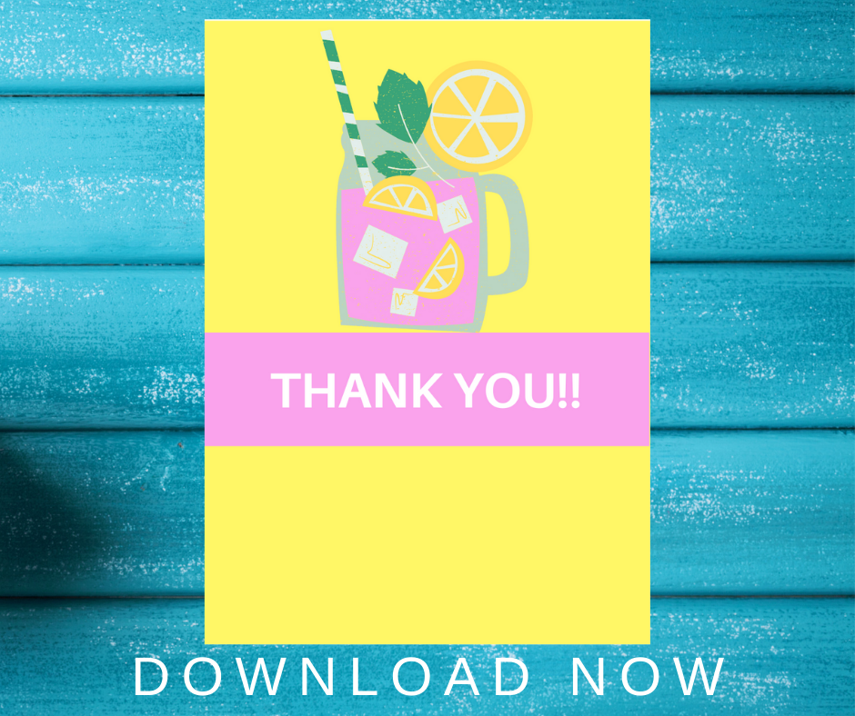 pink lemonade themed thank you card for kids birthday party