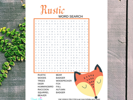 Rustic Word Search | Free Printable Rustic Themed Activity Sheet | Rustic Word Find for Birthday