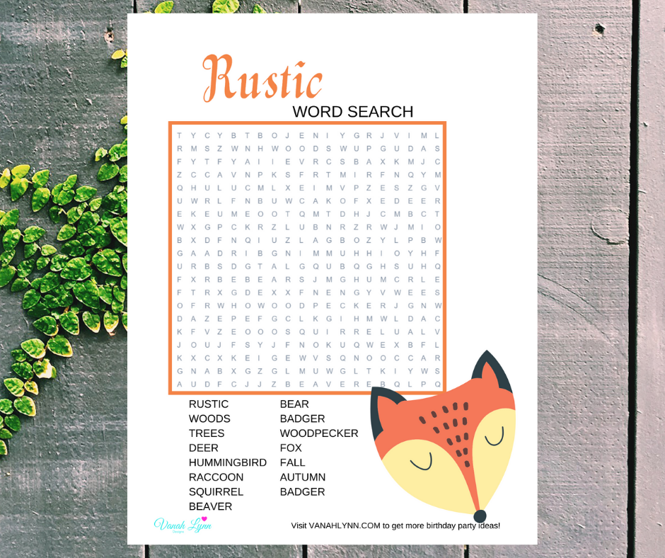 rustic animal themed word search for a birthday party