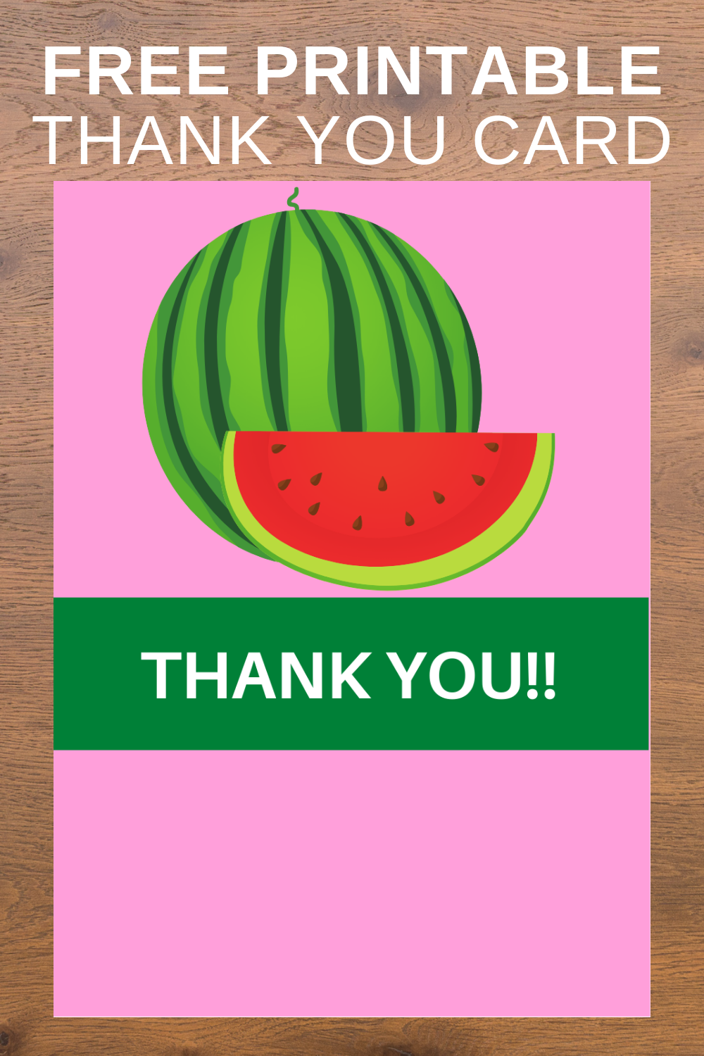 free printable watermelon thank you note for toddlers birthday party
