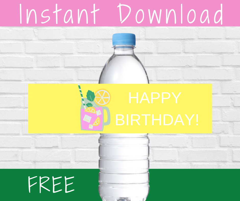 pink lemonade water bottle labels for a kids birthday party
