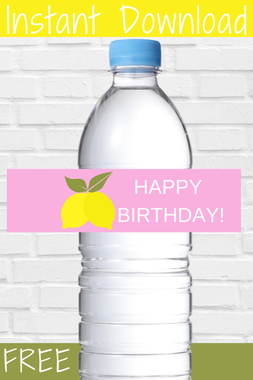 little girls lemonade first birthday water bottle label