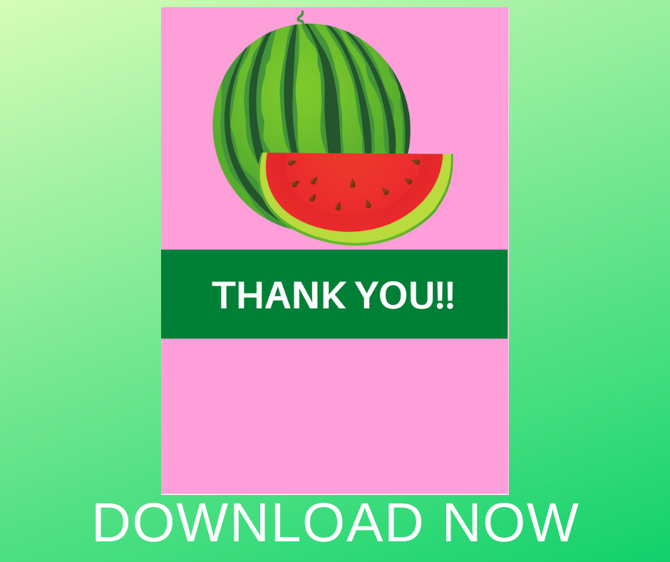 watermelon thank you card for kids birthday party