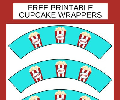 Popcorn Cupcake Wrappers Printable FREE - Print & Make Your Cupcakes Pretty!