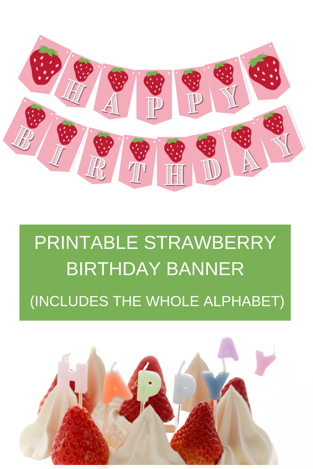 pink strawberry birthday party banner