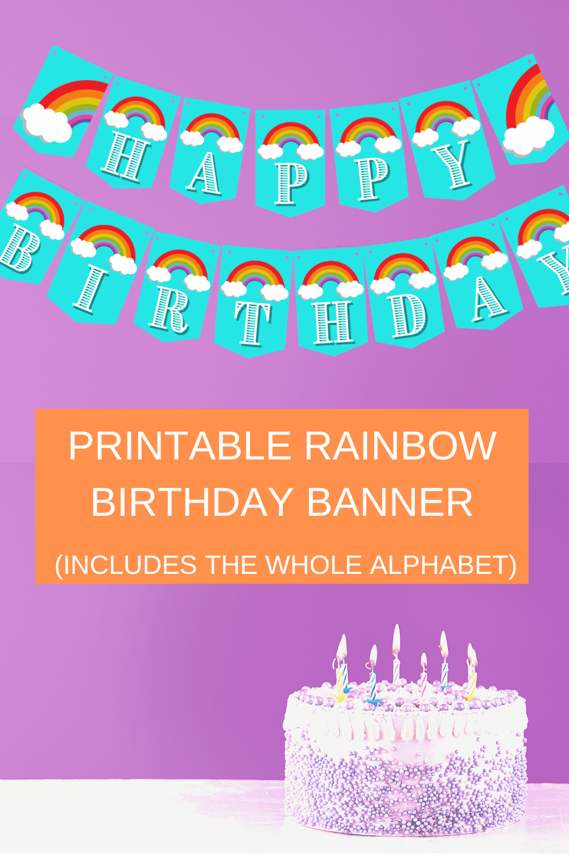 rainbow happy birthday banner printable