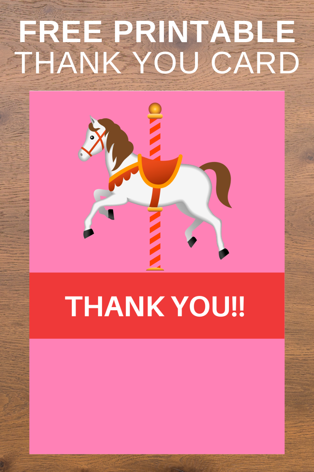 free download: carousel themed thank you card