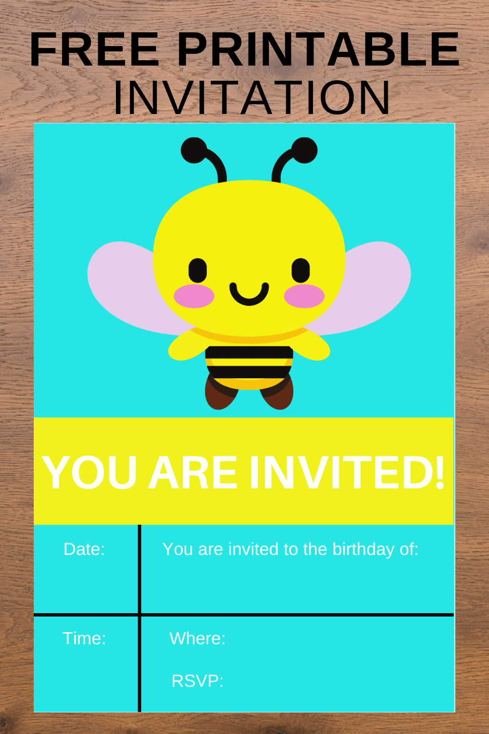 bumble bee birthday invitation template