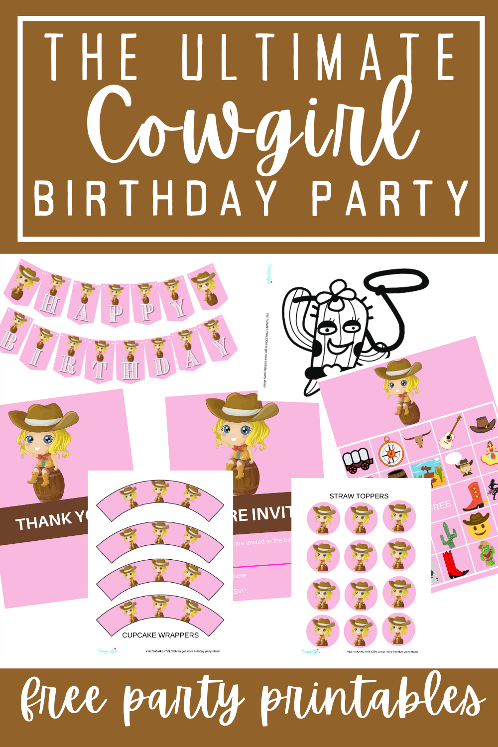 cowgirl birthday decorations, games and invitations