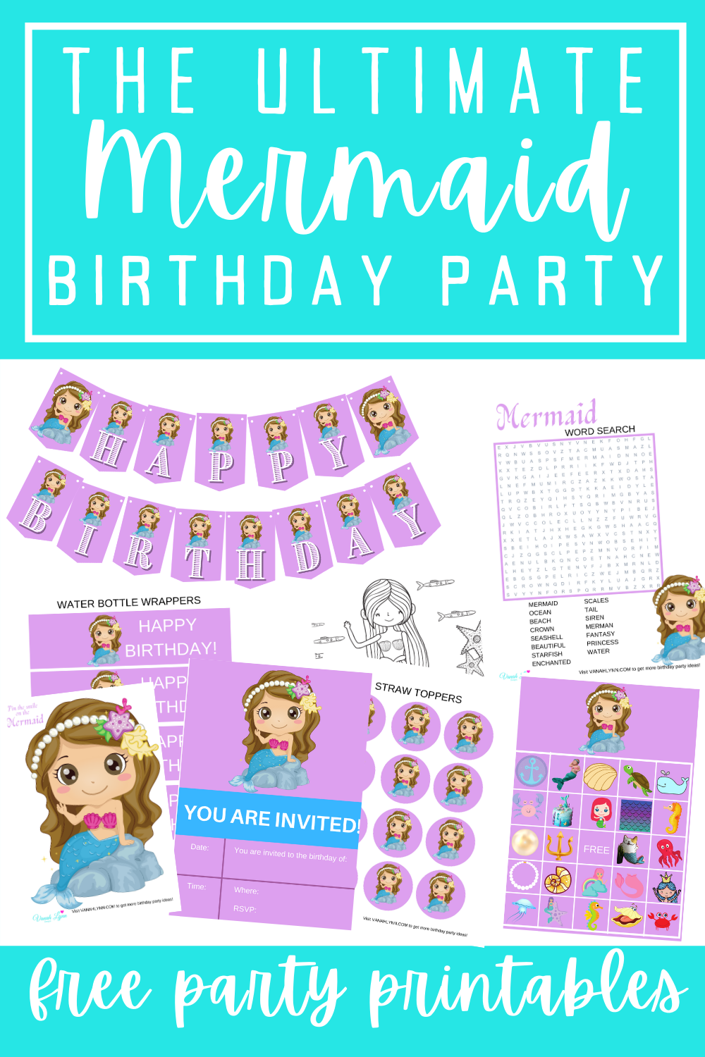 mermaid 1st birthday decoration supplies