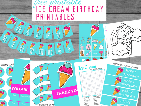 Ice Cream Party Kit | Free Printable Ice Cream Birthday Party Ideas | Ice Cream Themed Decorations