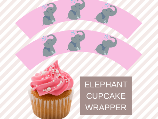 Pink Elephant First Birthday Party: FREE Cupcake Wrappers to Make Your Dessert Table Pretty!