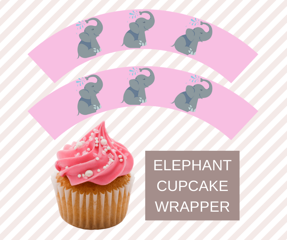 Pink Elephant First Birthday Party cupcake wrappers