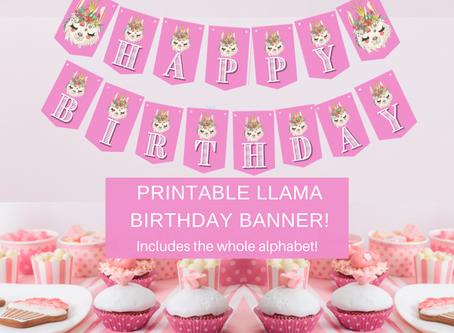 Llama Birthday Banner | Bonus Includes Alphabet Banner | Freebie