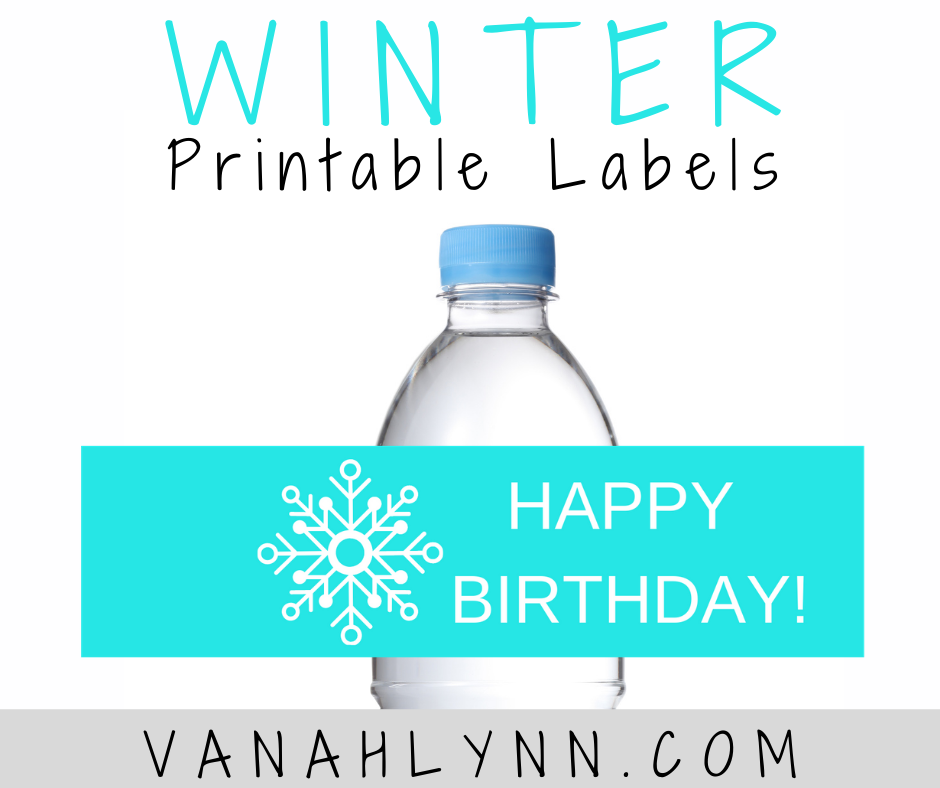 winter themed water bottle label for a birthday party