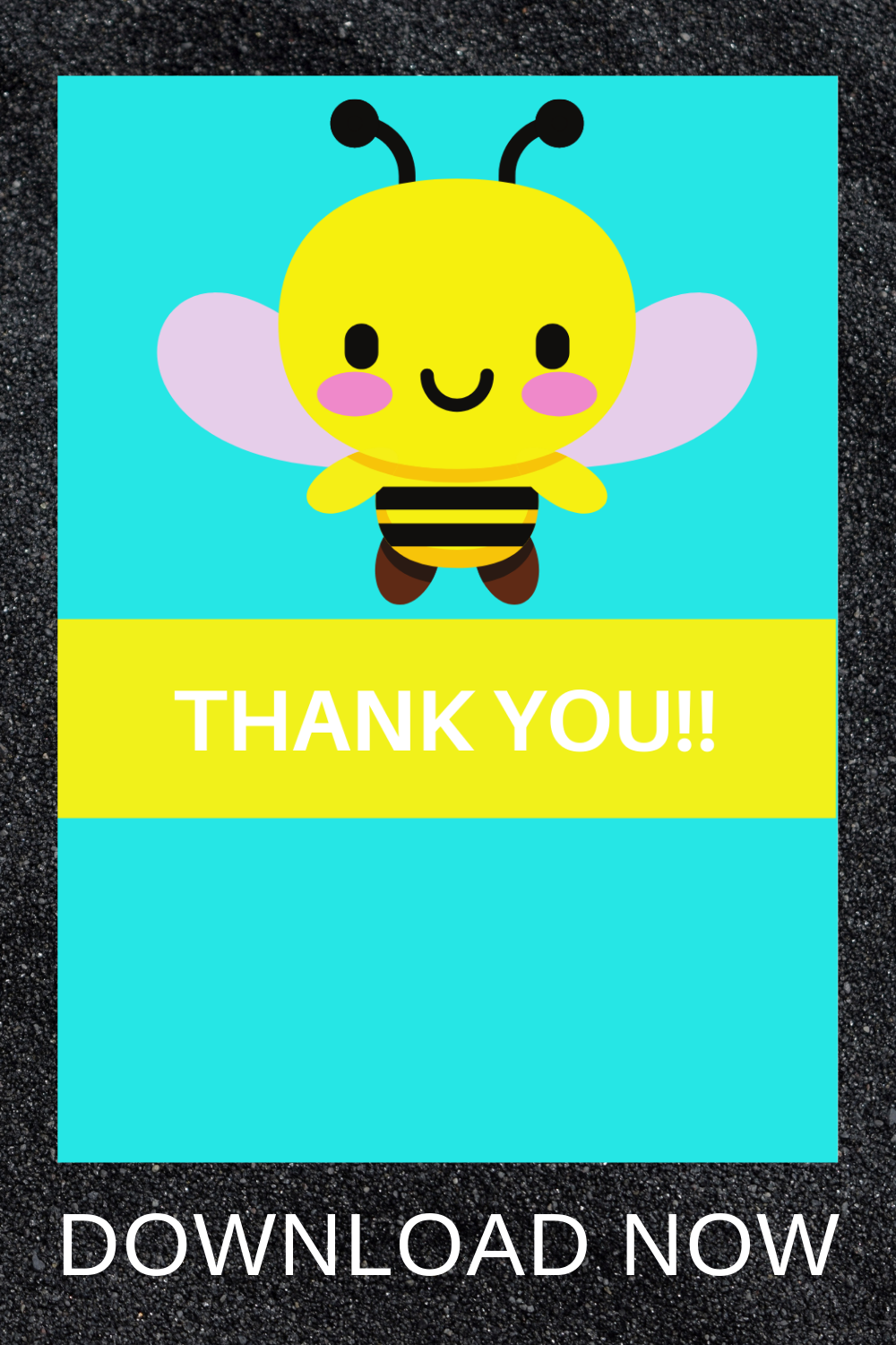 free download: bumble bee thank you card for a birthday party