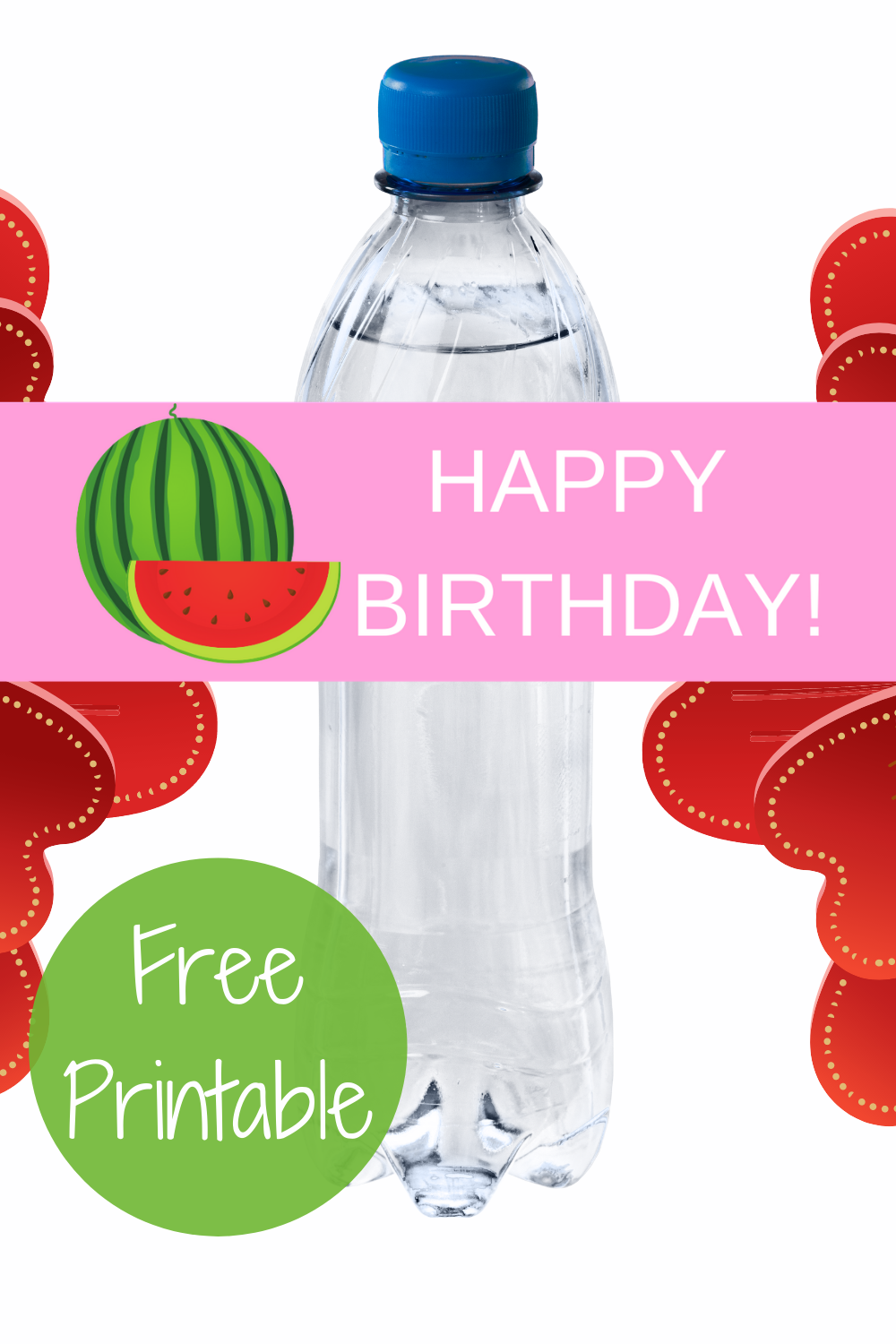 free download: watermelon themed water bottle wrapper