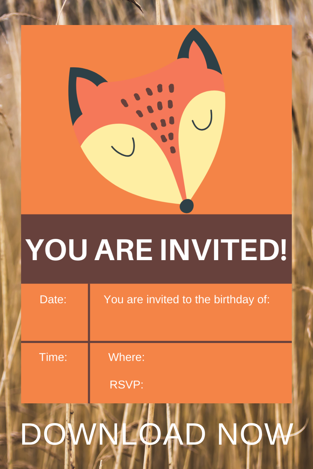 free printable fox birthday party invitation