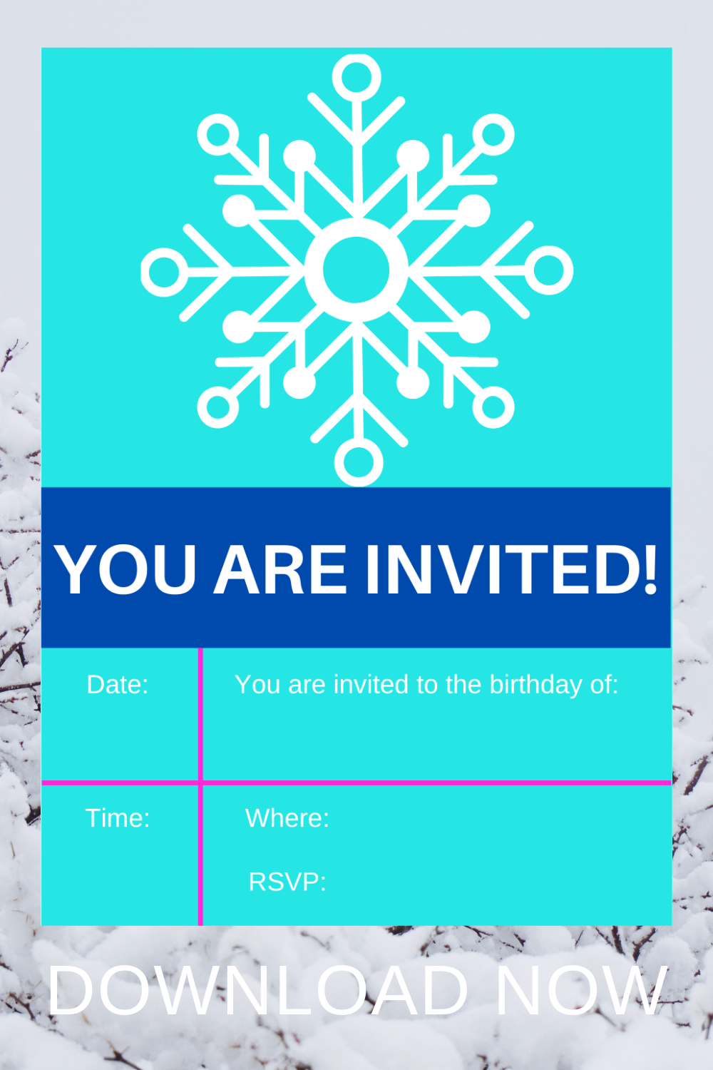 free printable winter themed birthday party invite cards