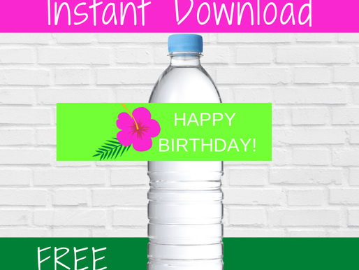 FREE Printable Hawaiian Water Bottle Labels