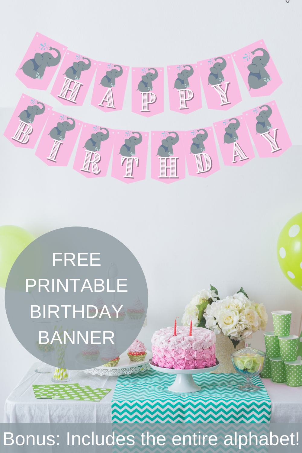 First birthday elephant themed birthday banner