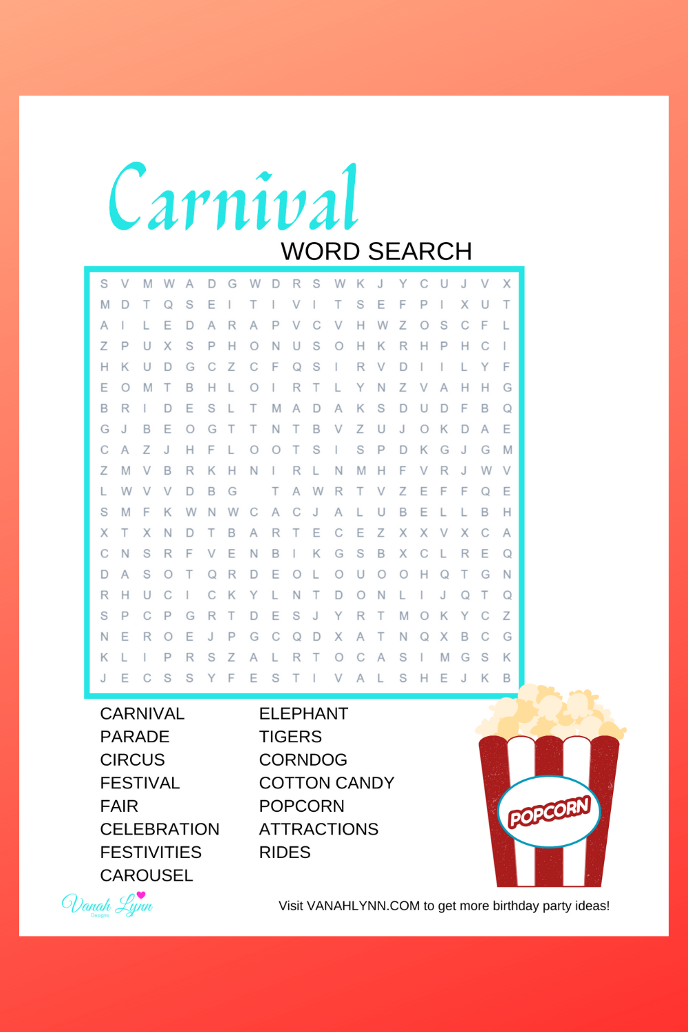 free download: carnival birthday party activity ideas