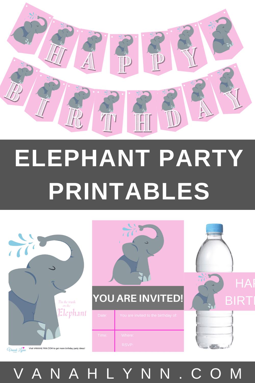 happy birthday pink elephant kit