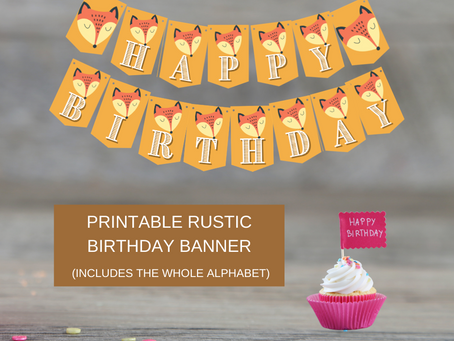 Rustic Themed Birthday Décor: Fox Happy Birthday Banner and Fox Alphabet Banner | Rustic Banner