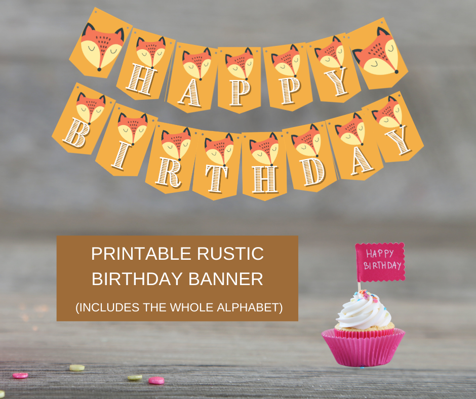 rustic animal birthday party banner for small child
