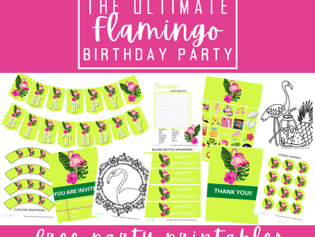 Flamingo Party Kit | Free Printable Flamingo Birthday Party Ideas | Flamingo Décor, Games & Invites