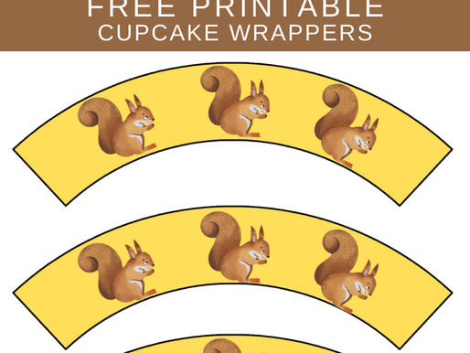 Woodland Creatures Birthday Party: FREE Printable Squirrel Cupcake Wrappers