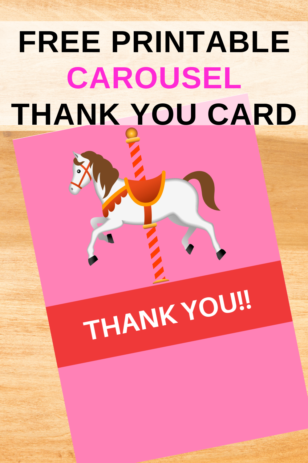 first birthday party carousel for a little girl, thank you note