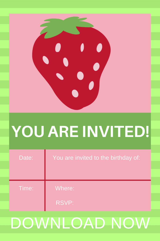 free strawberry invitation template