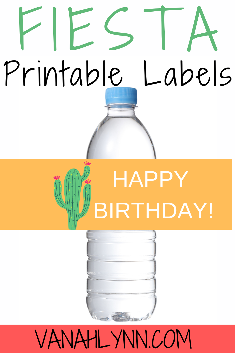 cactus birthday party water bottle wrapper