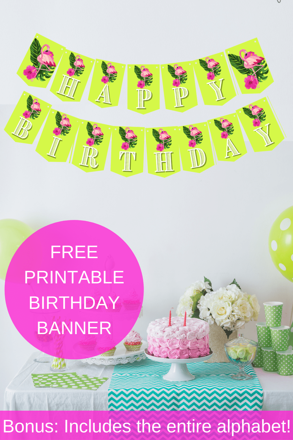 flamingo banner party decorations