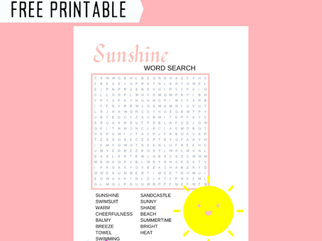 Sunshine Word Search | Free Printable Sunshine Themed Activity Sheet | Sunshine Word Find for Child