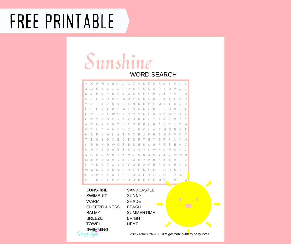sunshine themed word find for kids birthday party