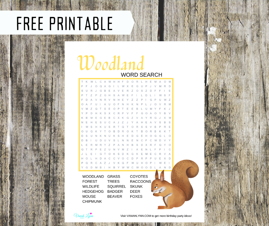 woodland animal word search for birthday party
