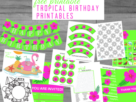Tropical Party Kit | Free Printable Tropical Birthday Party Ideas | Tropical Décor, Invite & Games