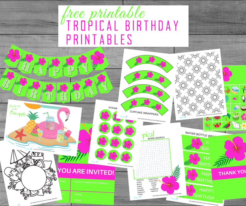free printable tropical party kit