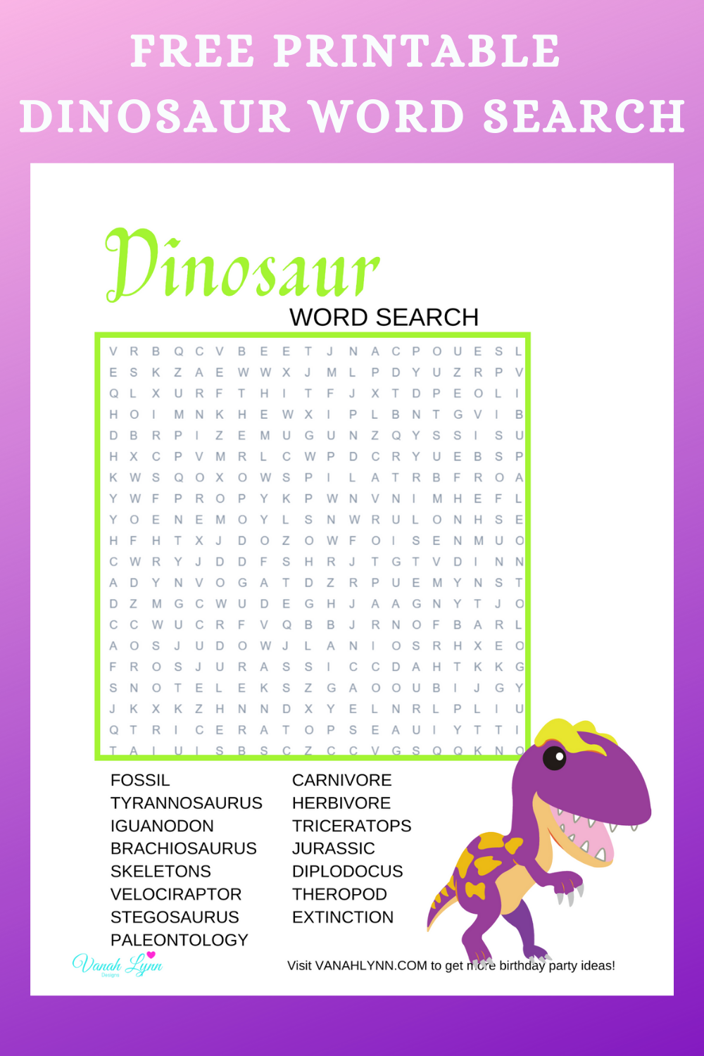 free download: dinosaur themed birthday party activity ideas