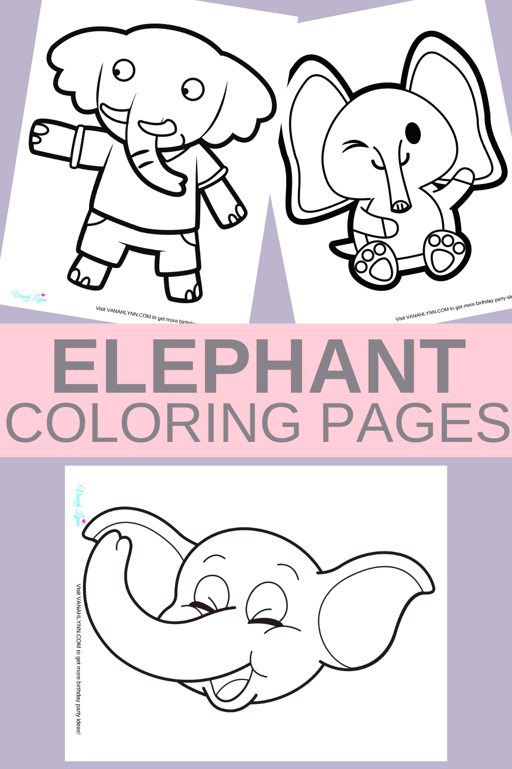 free download: elephant themed coloring sheets