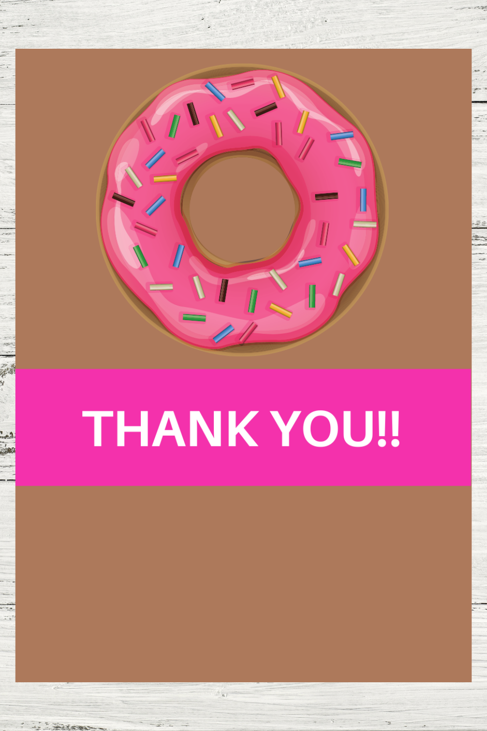 first birthday girl donut thank you card for toddlers
