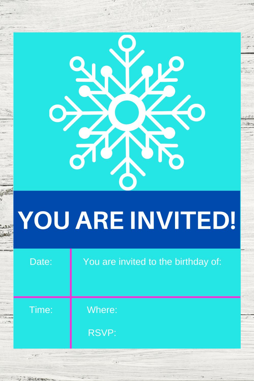 winter 1st birthday party for girls birthday invite