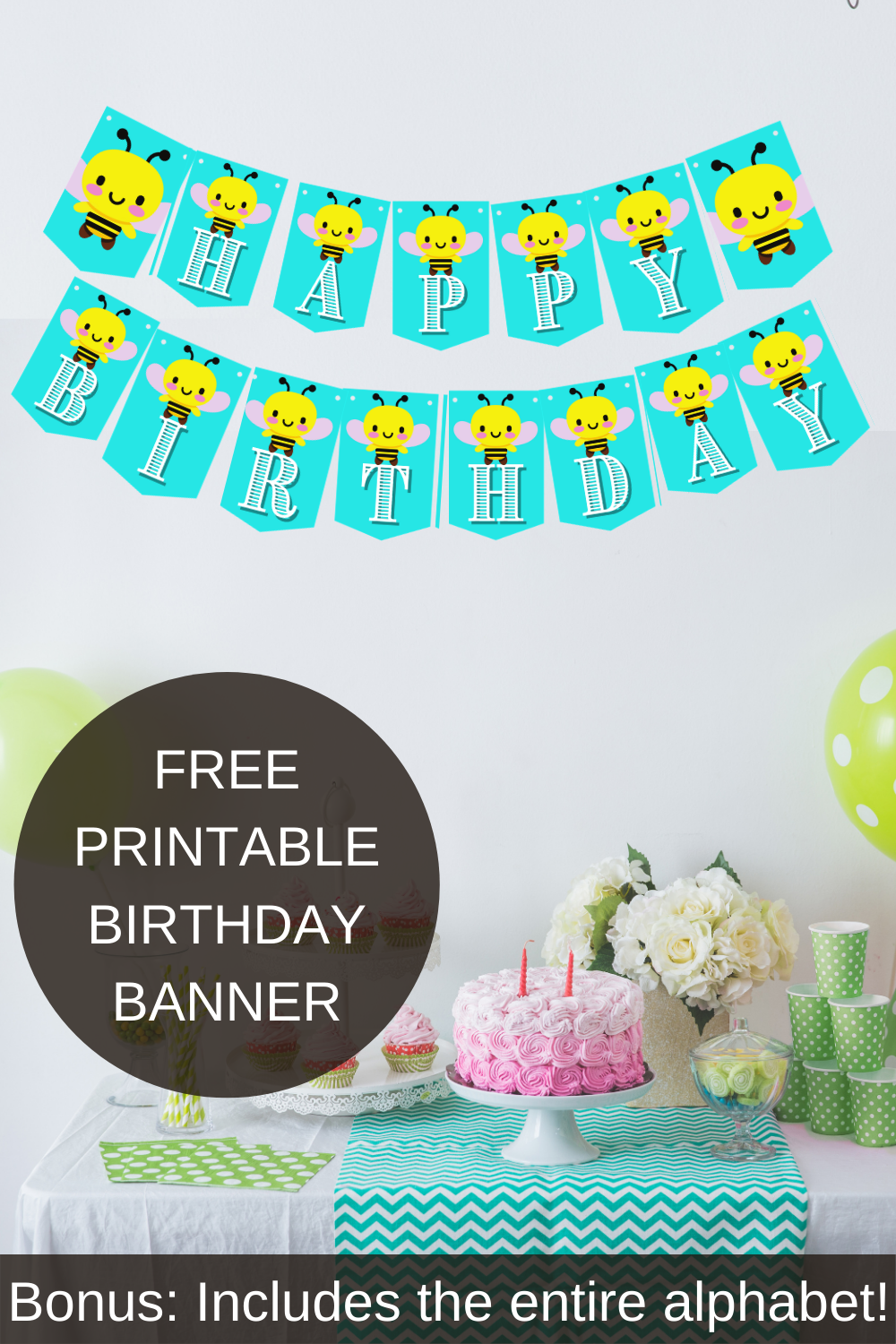 Freebie happy birthday bumble banner and customizable alphabet banner