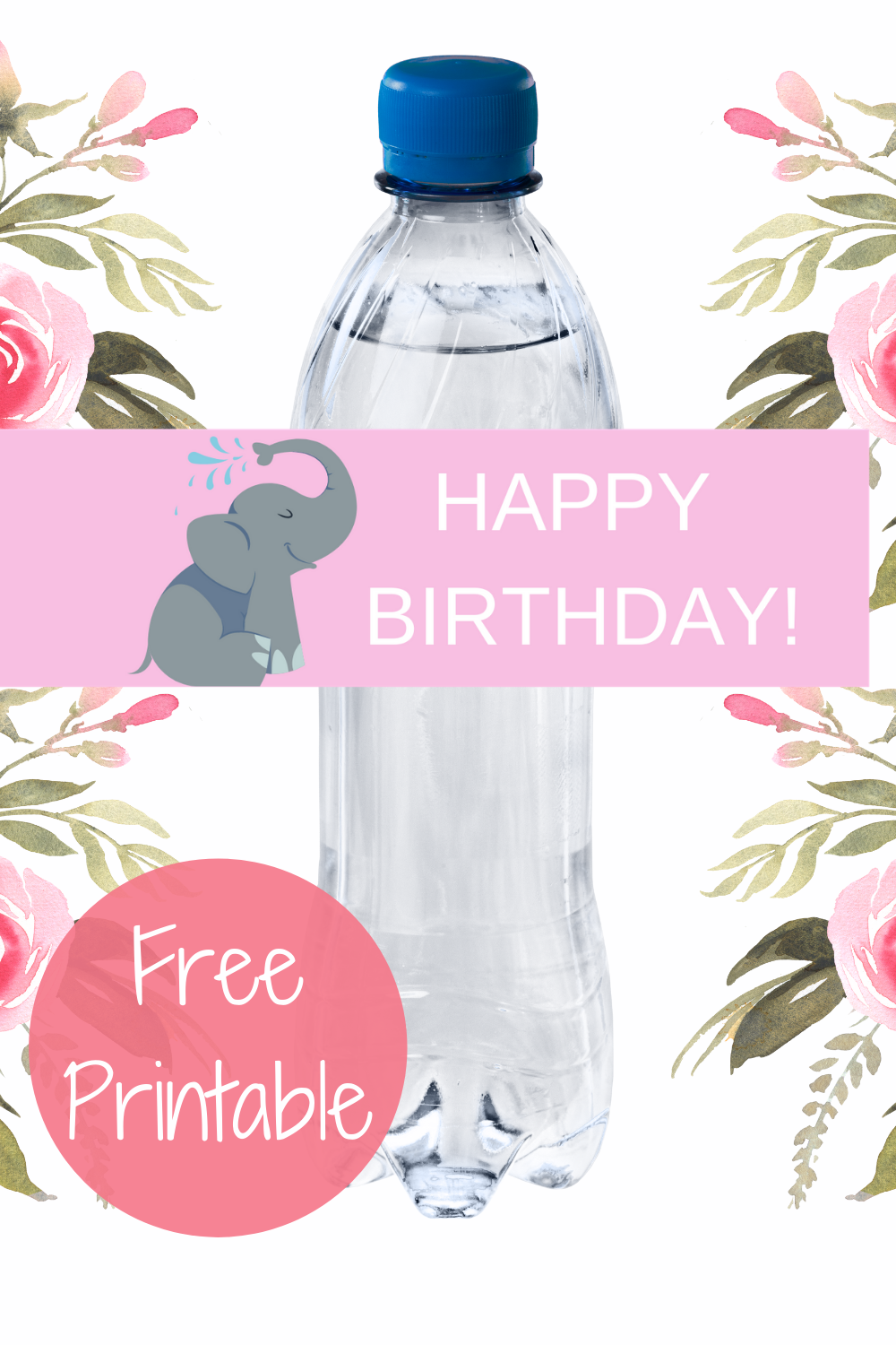 elephant themed water bottle wrapper for kids birthday